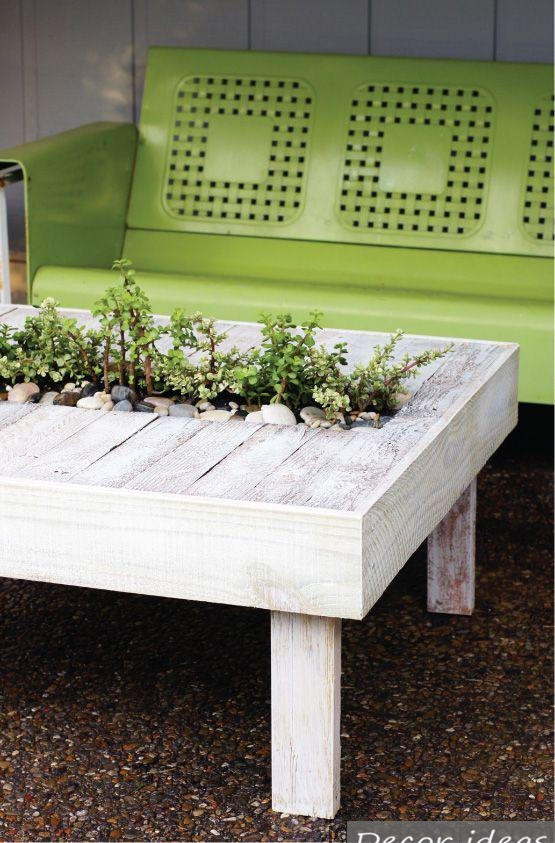 green wood table bench herb