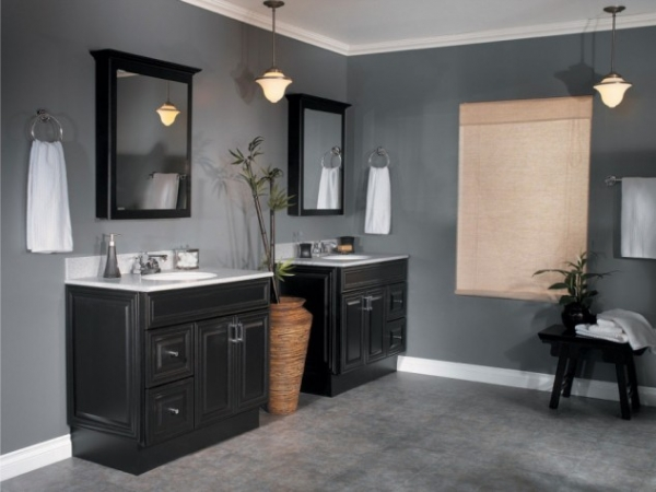 By Choosing To Go With Black Cabinets For Both Vanities Place The Tub In Center Break Presence Of E And Make Two Separate