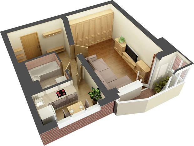 compact apartment project up to 50 square meters